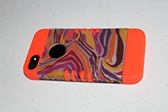 Cell Armor Rocker Snap-On Case for iPhone 5 - Retail Packaging - Red/Orange/Purple Zebra Print