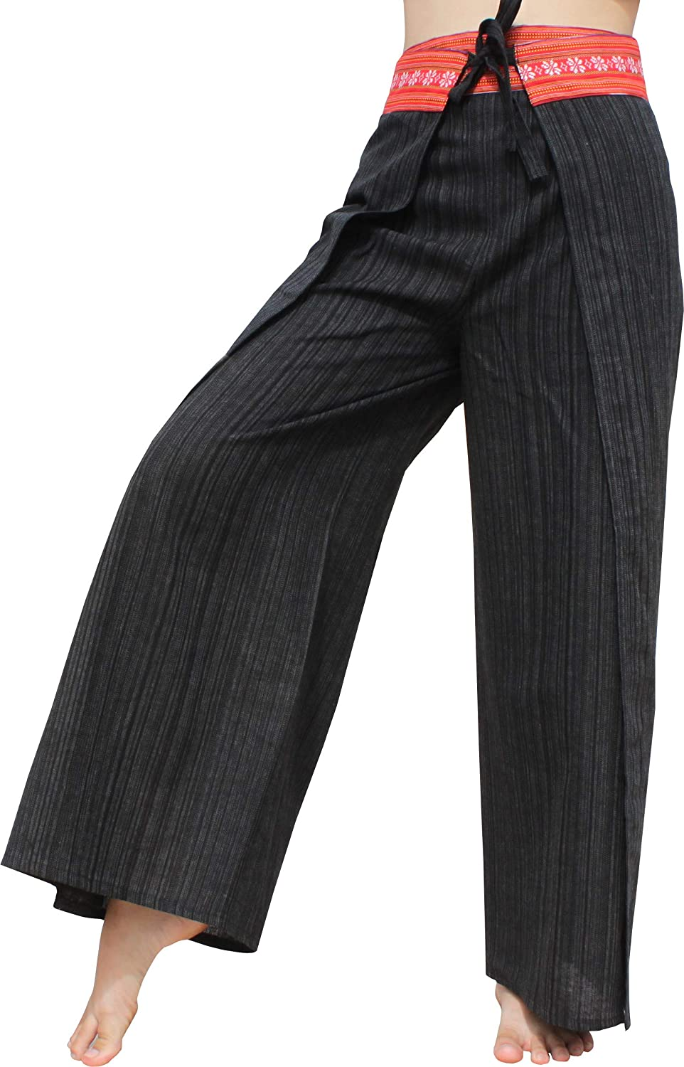 RaanPahMuang Brand Striped In stock Cotton Same day shipping Wrap Waist Pants in with Drive