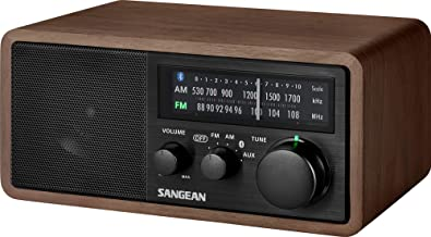 Sangean WR-16BK Professional Table Top Radio + AM/FM/NFC Bluetooth 4.1 Natural Walnut Wooden Cabinet with USB Charging for Smartphones (Black Series)