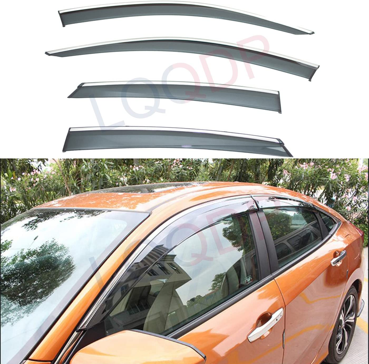 LQQDP 4pcs Smoke Tint With In stock Chrome Trim Outside Courier shipping free Tape On Cli Mount
