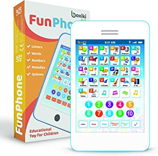 Learning Pad / Fun Phone with 6 Toddler Learning Games. Touch and Learn Interactive Tablet for Numbers, ABC and Words Lear...