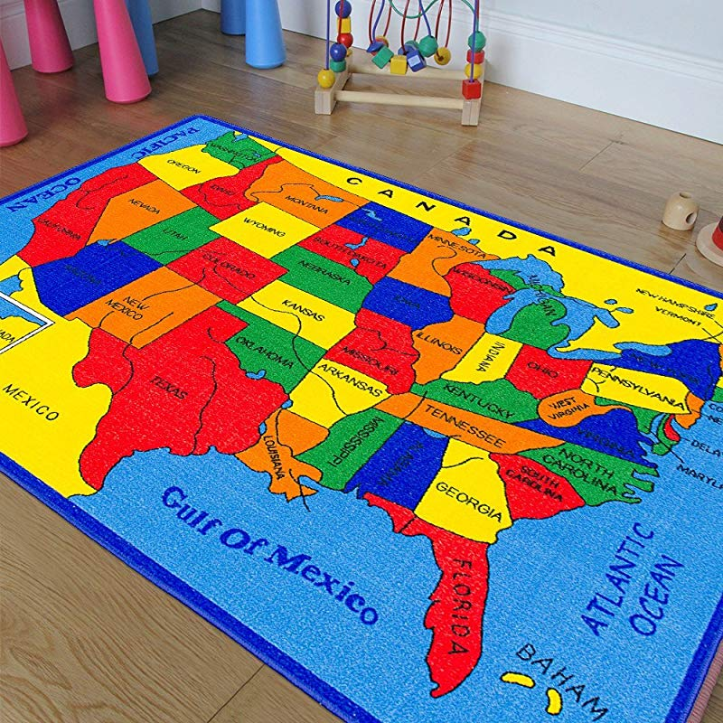 Pro Rugs CR S Kids Baby Room Area Rug USA Map Fifty States Bright Colorful Vibrant Colors 5 Ft X 7 Ft