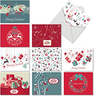 10 Assorted 'Red and Blue Retro Christmas' Christmas Cards with Envelopes 4 x 5.12 inch, Retro Red and Aqua Holiday Images, Boxed Season's Greetings Cards for Parties, Gifts, Business M6663XSG