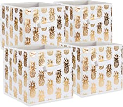 """DII Foldable Fabric Storage Containers ((11x11x11"""") Pineapple Gold - Set of 4, Small, White"""