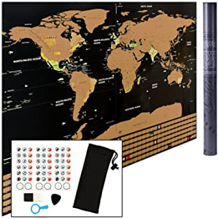 Scratch Off World Map Wall Poster to Mark and Track Your Travel - Perfect Gift for Travelers - Comes with Stickers and Scratcher