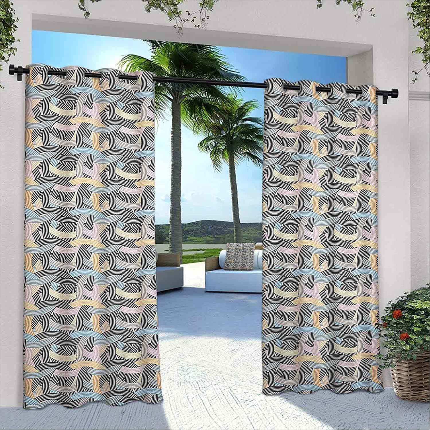Courtyard Max 76% OFF Outdoor Striped Curtain Arch Shapes Tangled Max 64% OFF Curvy Lin