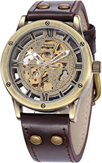 Carrie Hughes Men's Steampunk Automatic Mechanical Watch Bronze Hollow Skeleton Leather Watch