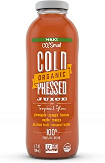 7-Select Organic Cold Pressed Juice - Tropical Glow, (14 Oz Glass Bottles, 6-Pack)