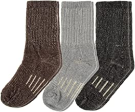 3 Pairs Thermal 60% Kids Merino Wool Socks: Thermal Socks, Crew Socks, Hiking Socks for Winter, Boys and Girls