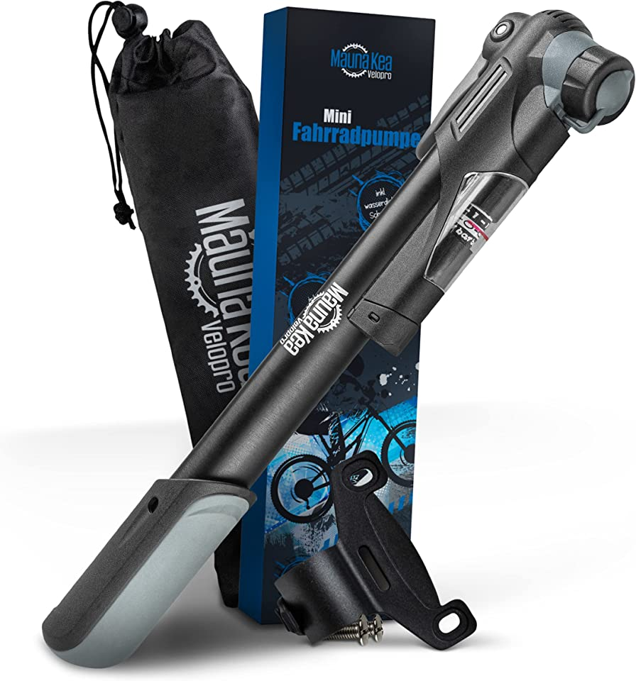 Mauna Kea Velopro | Premium Mini Fahrradpumpe – Luftpumpe Fahrrad für unterwegs – Klein & sehr handlich – Hochdruckkapazität von 6,9 bar [100 PSI]