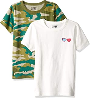Amazon/ J. Crew Brand- LOOK by crewcuts Boys' 2-Pack Print/Solid Short Sleeve T-Shirt