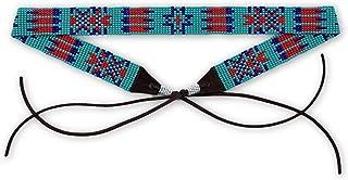 Mayan Arts ハットバンド 帽子 カウボーイ ウェスタン レザー ビーズ ターコイズ レッド ブルー レザータイ 7/8インチ X 21インチ