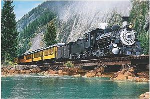 Fun Express Railroad Train and Cliff Backdrop - 9 feet x 6 feet - Party Decor and VBS Supplies