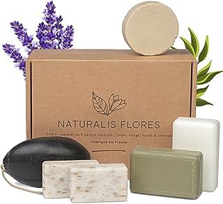 NATURALIS FLORES® – Coffret 6 Savons et Shampoing Solide BIO & Naturels – Corps, Mains, Visage, Cheveux, Peau, acné , Exfo...