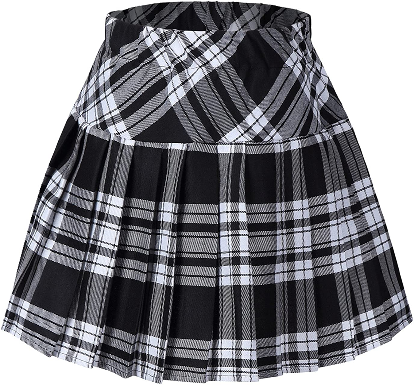 Tremour Women's High Waist Special price for a limited time 2021 spring and summer new Elastic Plaid Mini Pleated Skirt