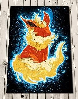 Eevee Flareon Art Print - Eeveelution Poster Painting - EVOLUTION POKEMON Art Poster Print Wall Decor