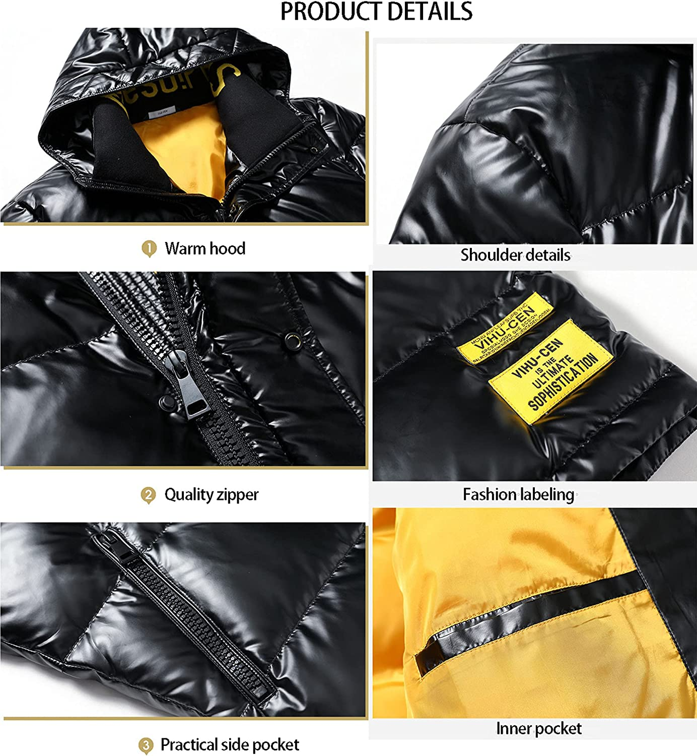 Men's Winter Duck Down Hooded Down Jacket Thickened Short Trend Down Jacket Cold-Proof Snow Skiing Coat