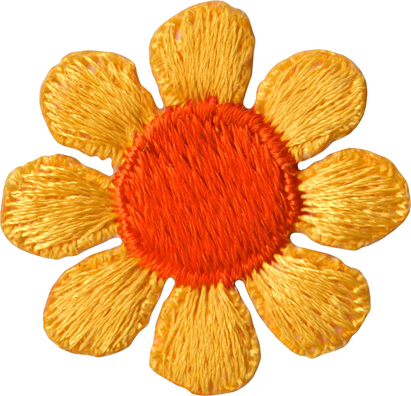 Daisy Flower - Yellow with Orange Center - Embroidered Sew or Iron on Patch