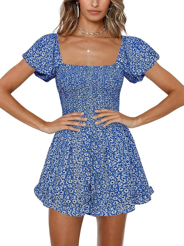 Jeanewpole1 Womens Floral Wide Leg 5% OFF Rompers Finally resale start Ruffle Short Shirred
