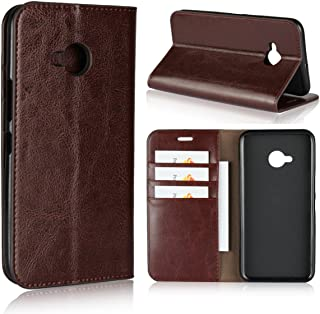 iCoverCase Compatible with HTC U11 Life Case, Genuine Leather Wallet Case [Card Slots] Flip Book Design Case with Viewing Stand (Brown)