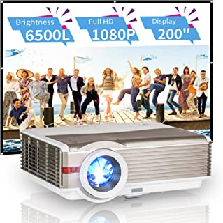 """HD Home Theater Projector 1080P Zoom LED Multimedia Movie Game Projector 6200Lumen 200"""" Display with HDMI USB VGA AV Audio..."""
