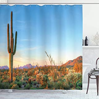 Ambesonne Saguaro Shower Curtain, Sun Goes Down in Desert Prickly Pear Cactus Southwest Texas National Park, Cloth Fabric Bathroom Decor Set with Hooks, 84