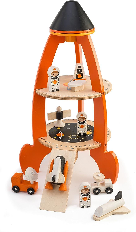 Tender Leaf – Learning Set Wooden Space Rocket Set, MultiColoured (1)