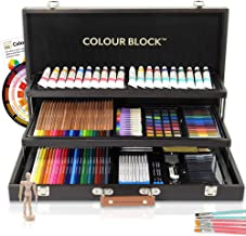 COLOUR BLOCK Deluxe 181 Piece Mixed Media Art Set in Wooden Case, with Soft & Oil Pastels, Acrylic & Watercolor Paints, Water Color, Sketching, Charcoal & Colored Pencils, Watercolor Cakes and Tools
