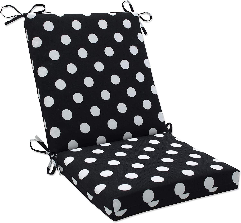 Black 45 x 18 Pillow Perfect Outdoor//Indoor Polka Dot Bench//Swing Cushion