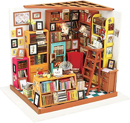 ROBOTIME Dollhouse Kit Miniature DIY Library House Kits Best Birthday Gifts for Teens