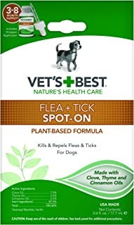 Vet's Best Flea and Tick Spot-on Drops | Topical Flea Treatment Drops for Dogs | Flea Killer with Certified Natural Oils