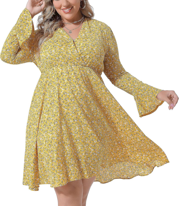 ALLABREVE Womens Fall Long Sleeve Dress V Neck Casual Polka Dot Print Ruffle Dress Midi Dress for Women