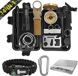 XMQY Pocket Survival Kits - Boy Scout Gifts First Aid Kit Camping Gear Emergency Tools Car Gadgets Multitool Hiking Hunting Accessories Christmas Day Birthday Presents Son Him Men
