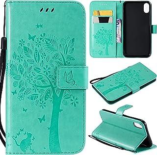 Artfeel Flip Brieftasche Hülle für iPhone Xr, iPhone Xr PU Leder Grün Hülle Geprägt Baum Schmetterling Blume Muster,Bookstyle mit Kartenfächer Magnetisch Stand Handyhülle