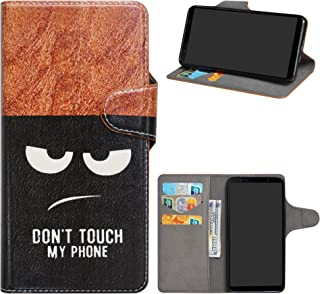 Samsung Galaxy A7 2018 Case,HHDY Flip PU Leather Wallet with Viewing Stand/Card Slots Pattern Design Cover for Samsung Galaxy A7 A750 2018,Don't Touch