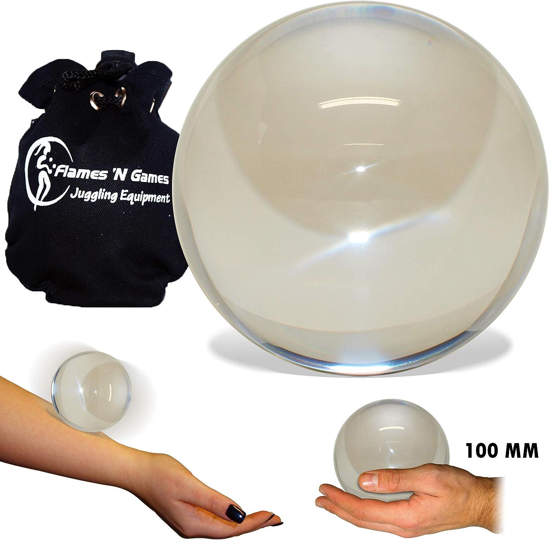 Flames N Games /¡Bolas de Malabares de Contacto de acr/ílico Bolsa de Viaje Clear Acrylic 65mm + Pouch Bolsa de Viaje Forrada de Polar Protectora!