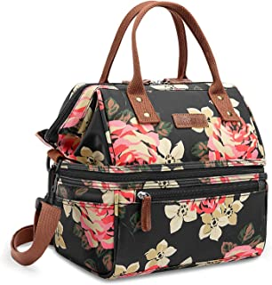 Lokass Lunch Bags for Women Wide Open Insulated Lunch Box With Double Deck Large Capacity Cooler Tote Bag With Removable Shoulder Strap Lunch Organizer For Outdoor/Work(Black Peony)