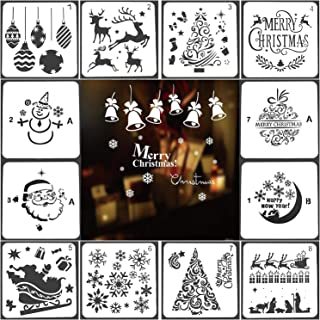 Christmas Stencils Templates 12 Pack Merry Chrismas, Stanta Claus, Snowflakes, Balls, Trees, Reindeers, Gift Boxes Xmas Holiday Craft Party Decorations 5