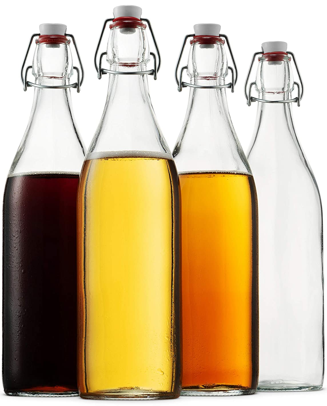 Bormioli Rocco Giara Clear Glass Bottle With Stopper [Set of 4] Swing Top Bottles Great for Beverages, Oil, Vinegar | 33 3/4 oz
