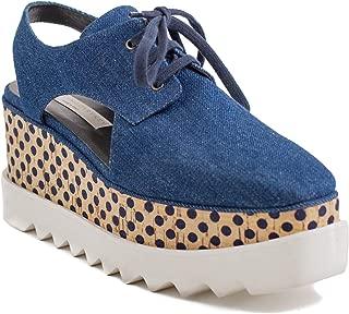 Women's Denim Elyse Platform Sandal Shoes Blue