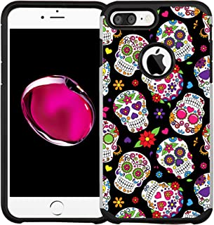 iPhone 7 Case/iPhone 8 Case, Dual Layer Shock Proof Bumper Protective Phone Cover - Sugar Skull