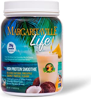 Margaritaville Life High Protein Smoothie - 1.27 lbs, Protein Powder - Made with Real Coconut & Pineapple - Whey Protein, Whole Foods, Vitamins & Antioxidants - Non-GMO, Gluten-Free - 14 Servings