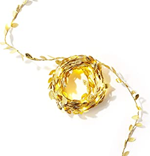Leaf Garland with Fairy Lights - 24 Ft, Battery Operated, 75 Warm White LED Lights, Gold Vines with Leaves, Rustic String ...