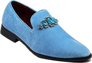 Enzo Romeo SPK32 Men's Vintage Plain Rhinestone Velvet Dress Loafers Slip On Shoes Classic Tuxedo Dress Shoes