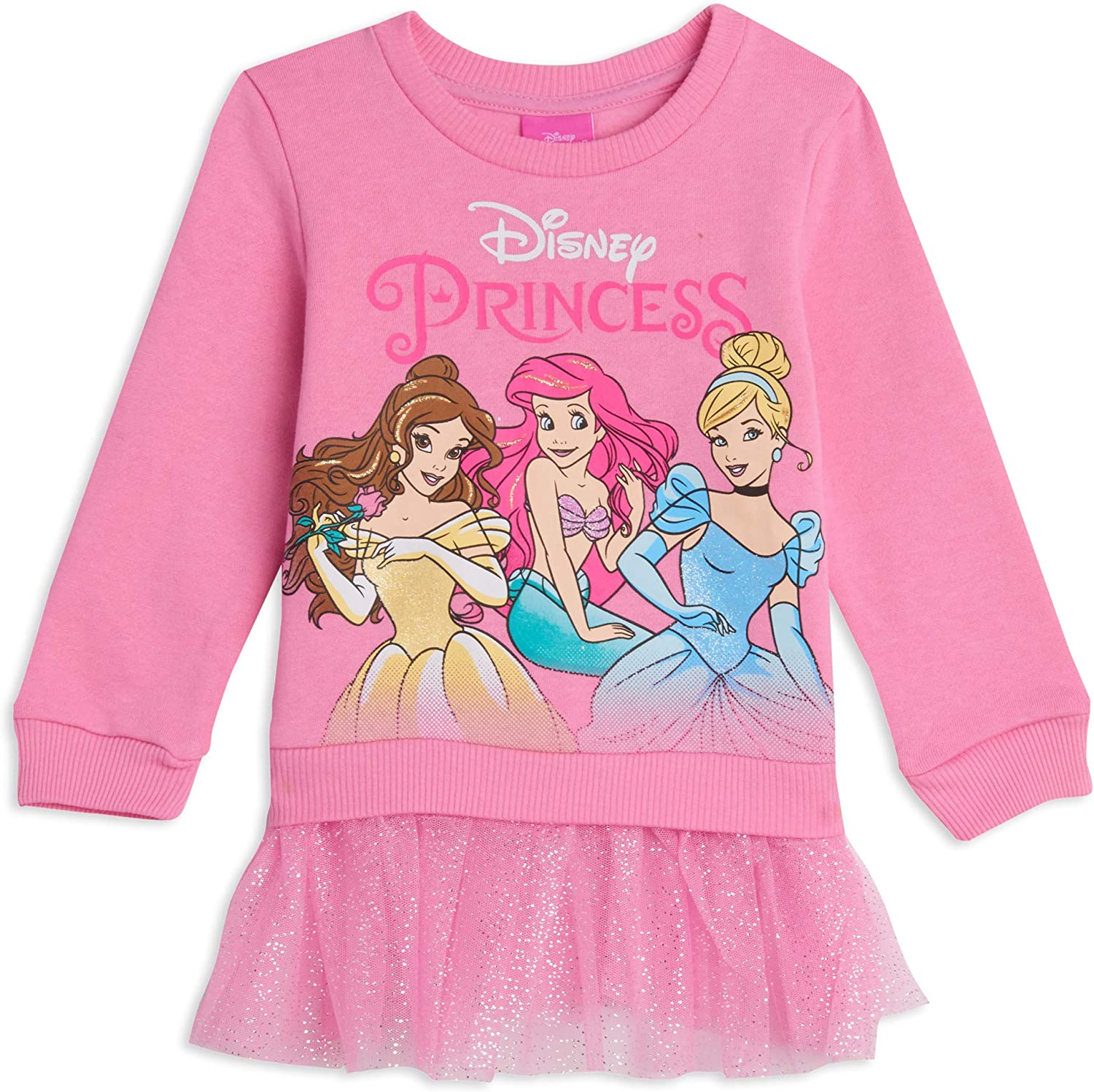 Disney Princesses Pullover Fleece with Tulle Ruffles Pink: Clothing, Shoes & Jewelry