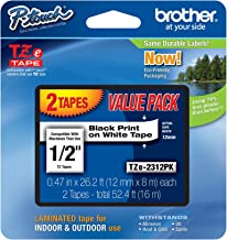 "Brother Genuine P-touch M-2312PK Tape, 2 Pack, 1/2"" (0.47"") Wide Standard Non-Laminated Tape, Black on White, Recommended ..."