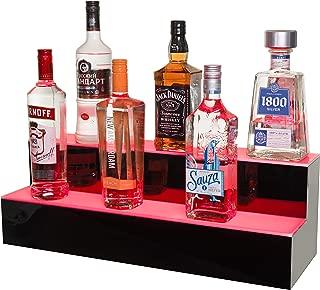 J&B Goods LED Lighted Liquor Bottle Display Illuminated Bottle Shelf 2 Tier! Home Bar Bottle Shelf 24