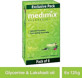 Medimix Ayurvedic Natural Glycerine Soap, 125 g (Pack of 6)