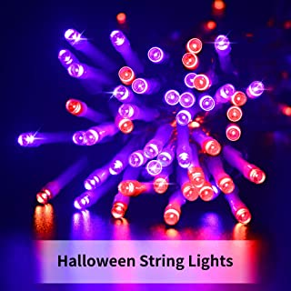 KNONEW Halloween String Light, 66ft 200 LED 8 Function Modes, LED Fairy String Lights Outdoor Indoor Decor Ideal for Christmas Halloween Holiday Theme Party Tree Decorations (Halloween Colors)