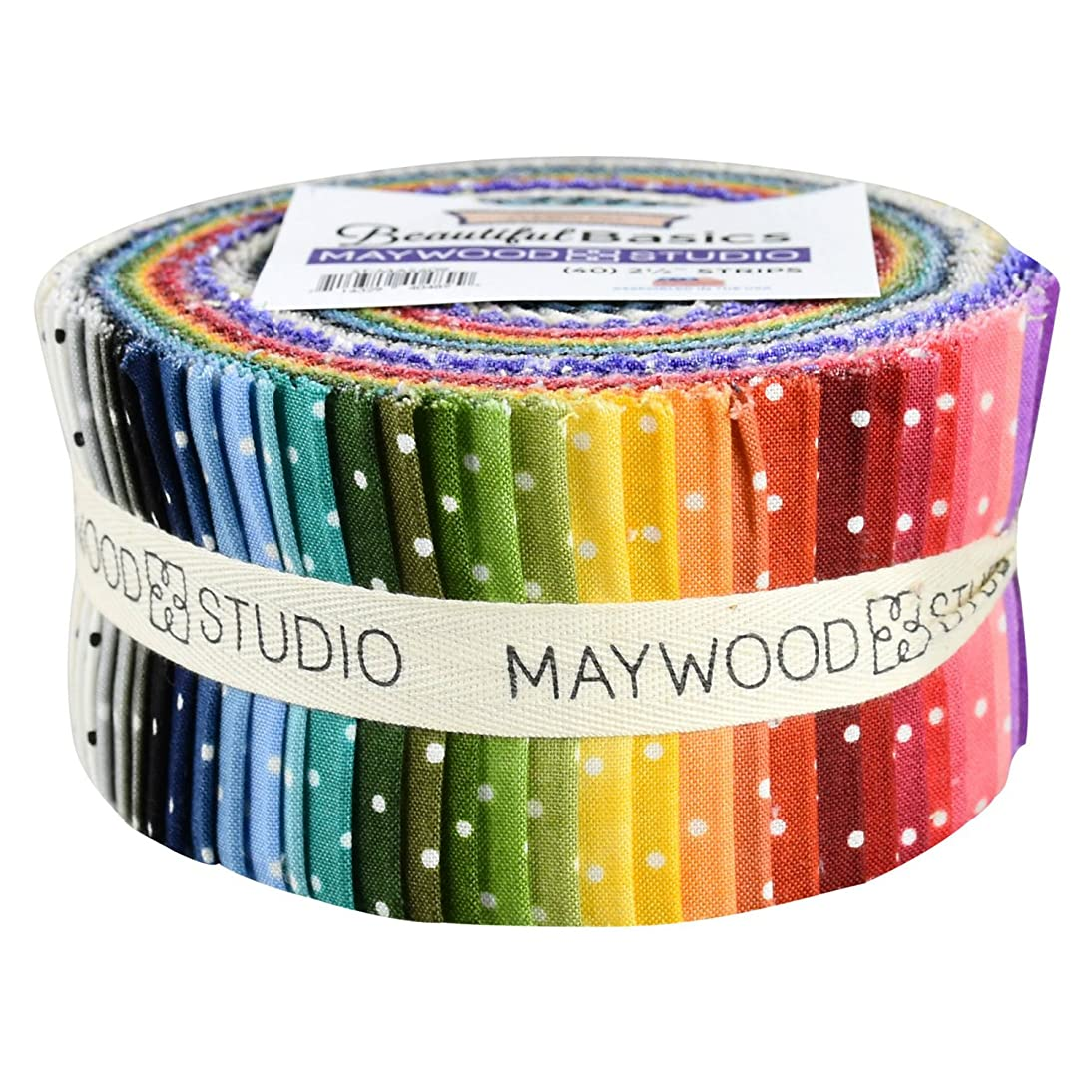 Beautiful Basics Classic Dot Precut Quilting Strips of Fabric Jelly Roll 40 2.5-inch by Maywood Studio